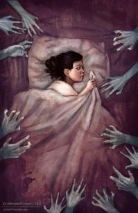 Beyond the Covers - A gallery-quality illustration art print by Kiri Leonard for sale. Arte Horror, Horror Art, Creepy Art, Scary, Art Sketches, Art Drawings, Buch Design, Grafik Design, Dark Fantasy Art