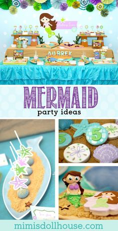 Mermaid Party: Aubrey's Little Mermaid Party.  Looking for some fin-tastic Mermaid Party Ideas for your next party?  This mermaid party is full of fun under the sea!! via @mimisdollhouse