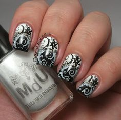 The Clockwise Nail Polish: Sunday Stamping Challenge: Black & White Nails