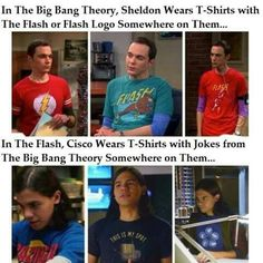 Sheldon with The Flash shirts and Cisco has some shirts with jokes from 'the big bang theory' #TheFlash