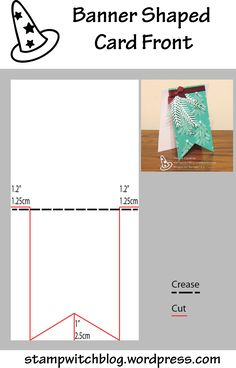 This diagram shows how to cut a card with a banner shaped front. Design by Natalie Lapakko.