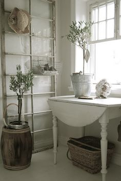 Great use of old window ~ drop-leaf table