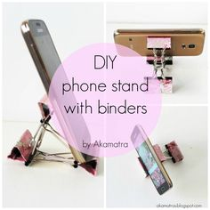 An easy and fun way to make a smart phone stand out of binder clips and washi tape! Photo tutorial!