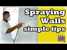 Spraying interior walls with and airless sprayer. Paint Sprayer Tips. - YouTube
