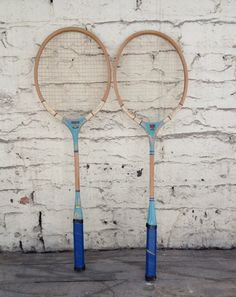 Pair of blue vintage badminton rackets made of solid wood construction. In good vintage condition. Great for playing, or for vintage wall decor! Dimensions: wide x long (racket portion is long) Badminton Racket, Tennis Racket, Wall Installation, Rackets, Repurposed, Unique Jewelry, Blue, Vintage, Etsy