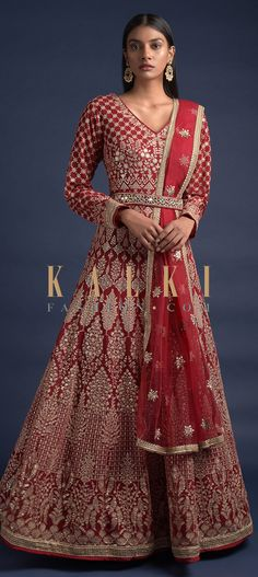 Cherry red anarkali suit in georgette with zari and sequins embroidered floral jaal on the bodice. Further enhanced with heritage kalidar embroidery. Wedding Salwar Kameez, Lycra Leggings, Embellished Belt, Red Fabric, Anarkali Suits, Pakistani, Festive, Bodice, Ethnic