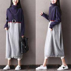 Casual Women Long Sleeves Autun Winter Blue Dress Keep Warm