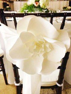 Wedding - 10 Large Paper Flowers - Decorative Chair - Aisle Decor Paper Flower