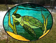 Sea Turtle oval stained glass window Panel