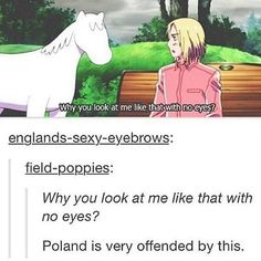 Hetalia ~ I feel for ya Poland, that is totally, like, an offensive pony!<<I am, like, so sorry for you Poland. Totally.
