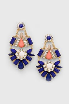Riva Chandelier Earrings in Royal on Emma Stine Limited