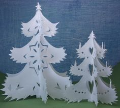 Make Cut Out Paper Christmas Trees for Winter Scenes and Christmas Ornaments or Miniature Villages