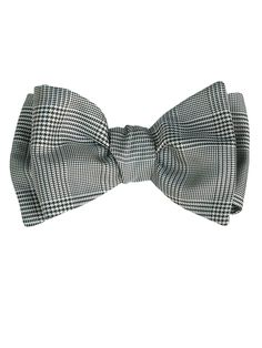 luxury silk black check bow tie