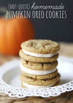Pumpkin Oreo Cookies with cream cheese frosting and a SECRET ingredient - store-bought mix! Easy and delicious!
