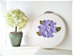 Embroidery Wall Art purple hydrangea felt flower garden