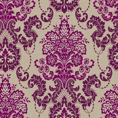 Vasari (952700) - Arthouse Wallpapers - An intricately patterned all over feathery damask design with delicate linking chains of beads. Shown in the bold purple with glitter detail. Other colours available. Please request sample for true colour and texture. Paste the wall.