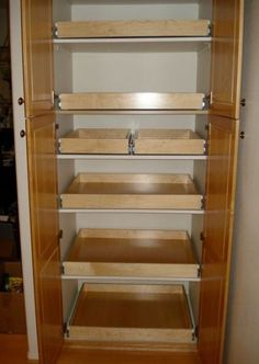 Pantry shelving pullout drawer pullout shelf pantry organizer sliding shelf for the home kitchen organization pantry . Kitchen Cupboard Organization, Kitchen Pantry Design, Pantry Shelving, Kitchen Pantry Cabinets, Drawer Shelves, Kitchen Cupboards, Kitchen Storage, Kitchen Ideas, Narrow Kitchen