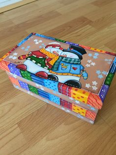 Caja rectangular mediana Navidad Christmas Frosty Christmas Paintings, Christmas Art, Painted Wooden Boxes, Hand Painted, Tole Painting, Painting On Wood, Snowmen Pictures, Christmas Crafts, Christmas Decorations