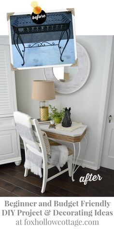 Love how this old, broken metal table looks after this makeover. Great diy project!