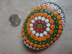 PAINTED BEACH STONE / Pebble Art / Dot Painted Stone /Home Decor / Decorative Rock/ Abstract / Acrylic / Original