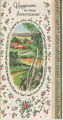 VINTAGE GARDEN VILLAGE BIRCH TREES CHURCH HOUSE WISHING WELL GOD CARD PRINT