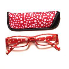 2.75 reading glasses red white polkadot with case 2.75 reading glasses red and white polkadot with case Accessories Glasses