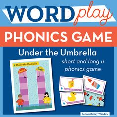 Short and Long U Phonics Game. Well-designed and fun game for reinforcing important phonics concepts! Practice long and short u sounds while you try to get both of your kids to their umbrellas in this fun puddle splashing themed mini path game, Under the Umbrella.===================================================== Save $$ by buying this product as part of the  1st Grade Phonics Games Bundle!