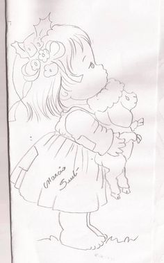 Pencil Art Drawings, Cute Drawings, Drawing Sketches, Hand Embroidery Patterns, Cross Stitch Embroidery, Embroidery Designs, Colouring Pages, Coloring Books, Baby Drawing