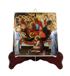 Dormition of the Virgin - Christian icon on tile - Christian gift idea - handmade in Italy - religious art - christian icons - christian art Catholic Gifts, Catholic Prayers, Religious Gifts, Religious Icons, Religious Art, Christian Gifts, Christian Art, Mary And Jesus, Tile Murals