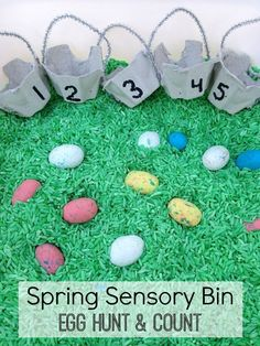 This springtime easter sensory bin is such a cute idea! Use candy eggs and tiny easter baskets for a FUN egg hunt and count game! What a creative idea for springtime learning! #teachmama #mathgames #countinggames #easter #easteractivities #toddleractivities #prechoolactivities #egghunt