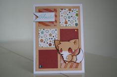 Scrapbooking carte renard carrés amitié