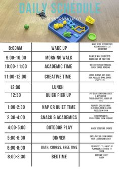 Whether you're looking for a toddler schedule or school-aged routine, this printable daily schedule for kids can work for any age! We also share our favorite indoor and outdoor activities. Kids Summer Schedule, Daily Routine Chart For Kids, Daily Routine Schedule, Toddler Schedule, Charts For Kids, Toddler Routine Chart, Preschool Schedule, Preschool Prep, Workout Schedule