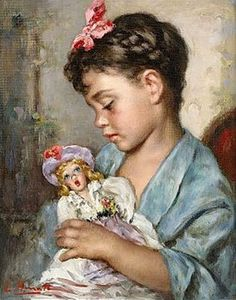 Girl With Doll by Luigi Amato