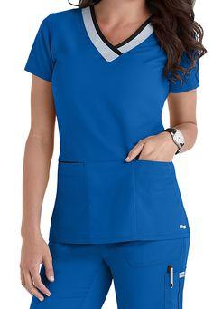 Greys Anatomy Color Block V-neck Scrub Tops Main Image Scrubs Outfit, Scrubs Uniform, Dental Scrubs, Nursing Scrubs, Cute Medical Scrubs, Cute Scrubs, Greys Anatomy Scrubs, Medical Uniforms, Nursing Uniforms