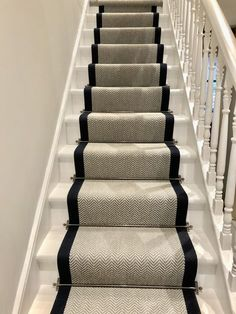 Navy Stair Runner, Staircase Runner, Stair Runners, Carpet Runner On Stairs, Grey Runner, Hallway Carpet Runners, Carpet Diy, Best Carpet, Carpet Ideas