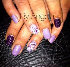 #acrylic #nail #art#purple#rhombus#glitter#handmade#3d#white#rose # silver