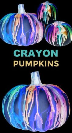 Decorate pumpkins that glow-in-the-dark using crayons and NO CARVING! | Fall Halloween Crafts for Kids #halloween #meltedcrayonart #meltedcrayonpumpkin #nocarvepumpkindecorating #growingajeweledrose #activitiesforkids