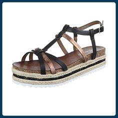 8ff150135e75 Riemchensandalen Damen-Schuhe Knöchelriemchen Riemchen Schnalle Ital-Design  Sandalen   Sandaletten Schwarz