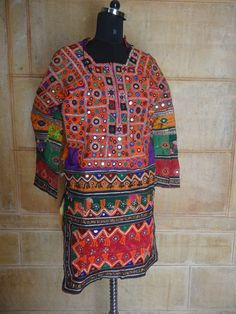 Vintage Mirror Work Dress From Indian and by jaisalmerhandloom