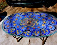 Blue Glass Mosaic Coffee Table  (Commission); Handcut Glass Tile on Glass Mosaic Patio Table
