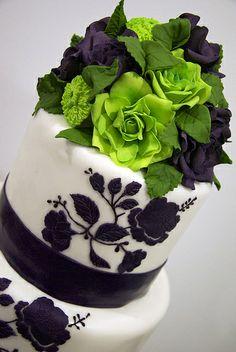 Gorgeous Black & White Wedding Cake With Splash of Green Flower Topper