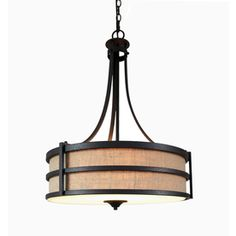 allen   roth�20-in W Textured Rustic Iron Pendant Light with Fabric Shade