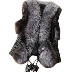 Lkous Short Design Female fox Fur Vest Leather Vest Outerwear Women Coat