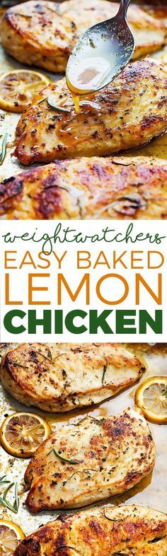 Easy healthy baked lemon chicken that is loaded with yummy flavor and you can make in a hurry with just a few simple ingredients. #baked #lemon #chicken
