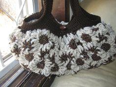 Crochet Flower Purse Dark and light brown by MeladorasCreations, $50.00
