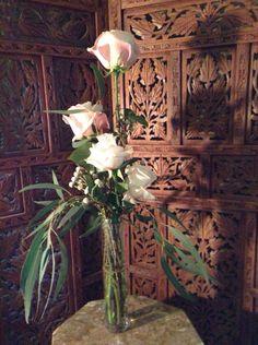 Roses, eucalyptus and brunia.