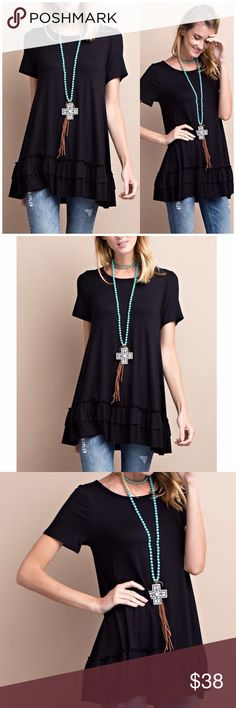 Black Short Sleeve Double Ruffle Tunic Top Short sleeves round neck. Soft heavy rayon/ spandex material. Loos fit flow tunic with double ruffle. 95% rayon, 5% spandex. Fits true to size Lulupie Tops Tunics