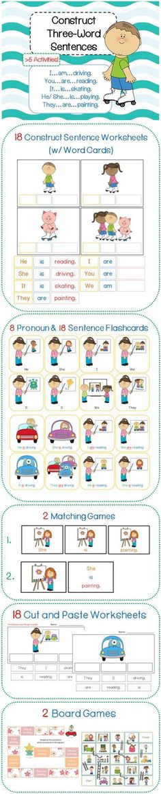 $ Learn how to construct simple three word sentences with these fun activities!