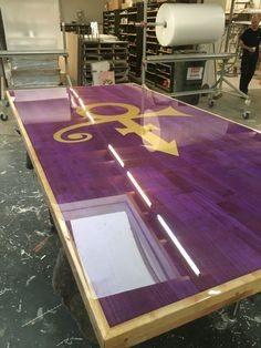 Tabletop 'prince'. Made from veneer wood With purple liquid gloss Resin  Produced by ccoating