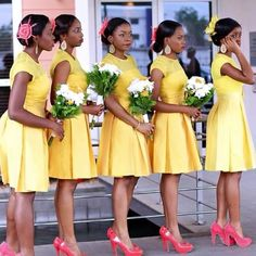 yellow bridesmaid dresses with sleeves Turquoise Bridesmaid Dresses, Short Lace Bridesmaid Dresses, Yellow Lace Dresses, Bridesmaid Dresses With Sleeves, Wedding Bridesmaids, Wedding Gowns, Bridal Dresses, African Fashion Dresses, Girls Dresses